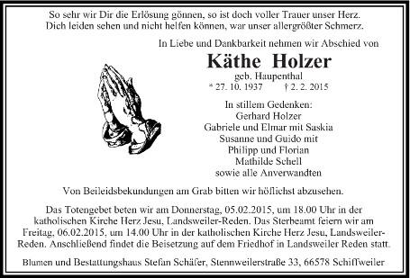 Anzeige Käthe Holzer